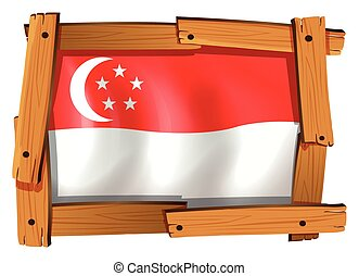 Singapore flag in wooden frame
