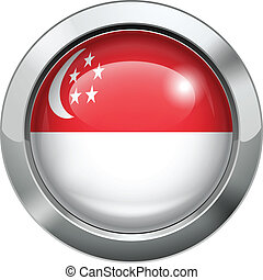 Singapore flag metal button - Vector illustration of...