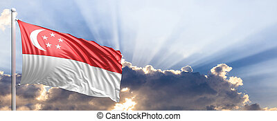 Singapore flag on blue sky. 3d illustration