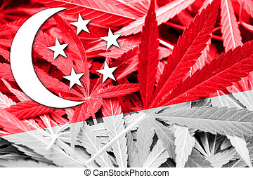 Singapore Flag on cannabis background. Drug policy. ...