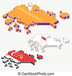 Singapore flag on map element with 3D isometric shape isolated on background, vector illustration