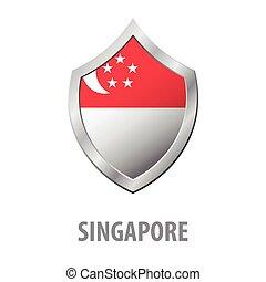 Singapore flag on metal shiny shield vector illustration.