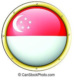 Singapore flag on round button