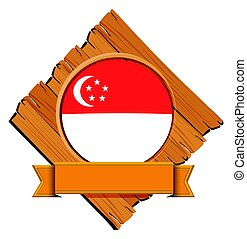 Singapore flag on wooden board