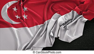 Singapore Flag Wrinkled On Dark Background 3D Render