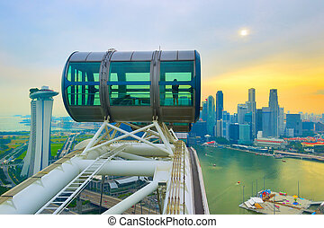 Singapore Flyer and Downtown Core - Skyline of Singapore,...