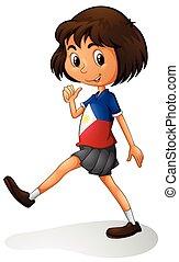 Singapore girl walking alone illustration