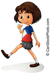 Singapore girl walking alone illustration