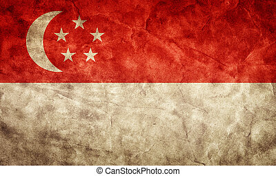 Singapore grunge flag. Item from my vintage, retro flags collection
