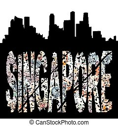 Singapore grunge text with skyline