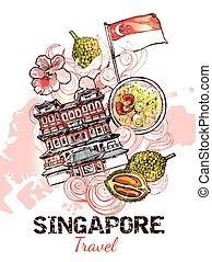 Singapore Hand Drawn Sketch Poster