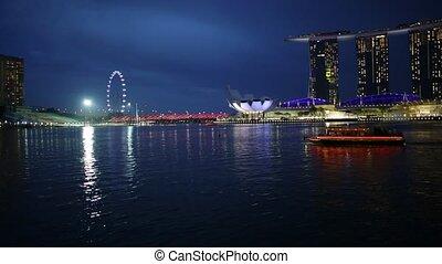 Singapore harbor Skyline - Skyline of Singapore in marina...