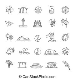 Singapore Symbols illustration. Thin line icon