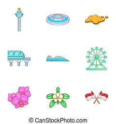 Singapore icons set, cartoon style