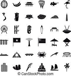 Singapore icons set, simple style
