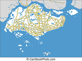 singapore - vector map of Singapore.