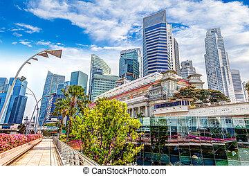Singapore Landmark Skyline at Fullerton on Esplanade Bridge