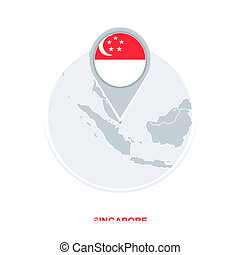Singapore map and flag, vector map icon with highlighted Singapore