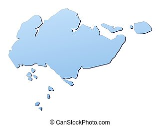 Singapore map filled with light blue gradient. High...
