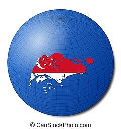 Singapore map flag on abstract globe illustration