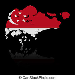 Singapore map flag with reflection illustration