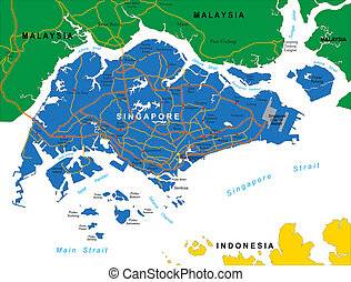 Highly detailed vector map of Singapore with administrative regions, main cities and roads.