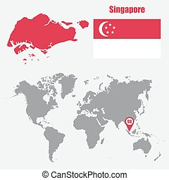 Singapore map on a world map with flag and map pointer. Vector illustration