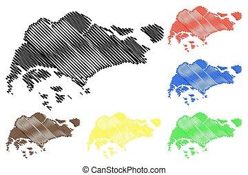 Singapore map vector