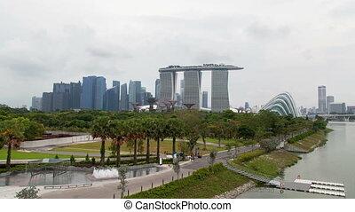 Singapore Marina Bay Sands Gardens sunset timelapse
