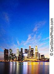 singapore, marina, zatoka, handlowy okręg, w nocy
