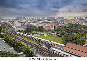 Singapore Mass Rapid Transit Station in Eunos Area at Sunset