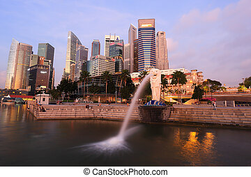 Merlion fountain in front of the Marina Bay