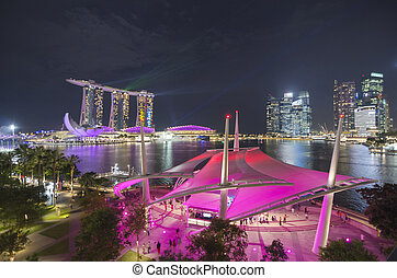 SINGAPORE -MAY 12: Largest and most beautiful laser show at...