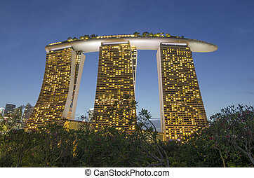 SINGAPORE - MAY 12: Night view at Marina Bay Sands Resort ...