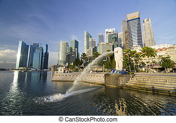 SINGAPORE - MAY 12: View of Merlion Statue on May 12, 2014 ...