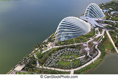 An aerial view of Gardens by the Bay - SINGAPORE - May11 :...