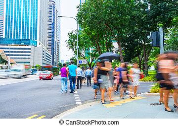 Singapore metropolis downtown crowded street