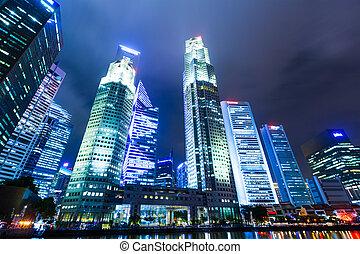 singapore miasto, sylwetka na tle nieba, w nocy