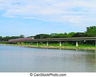 Singapore MRT Train public transport by the reservoir