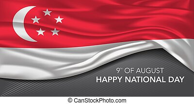 Singapore national day greeting card, banner with template text vector illustration. Singaporean memorial holiday 9th of August design element with white crescent