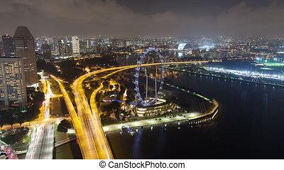 Singapore night aerial highway traffic time-lapse