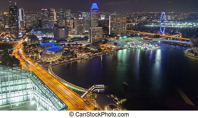 Singapore night skyline panorama time-lapse
