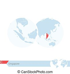 Singapore on world globe with flag and regional map of...