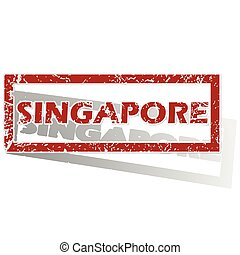 Singapore outlined stamp