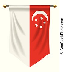 Singapore Pennant - Singapore flag or pennant isolated on...