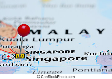 Singapore pinned on a map of Asia - Photo of pinned...
