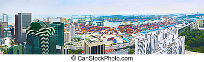 Singapore port panorama - Panoramic view of Singapore...