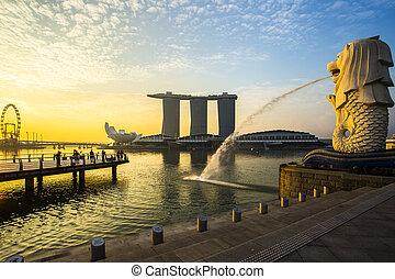 singapore, punkt orientacyjny, merlion, z, wschód słońca