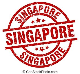 Singapore red round grunge stamp