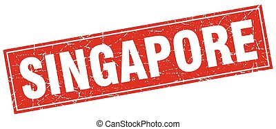 Singapore red square grunge vintage isolated stamp